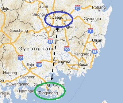 Map - Daegu to Tongyoung