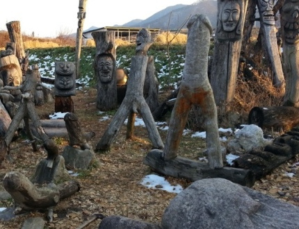 Andong Hahoe Village wooden penis statues
