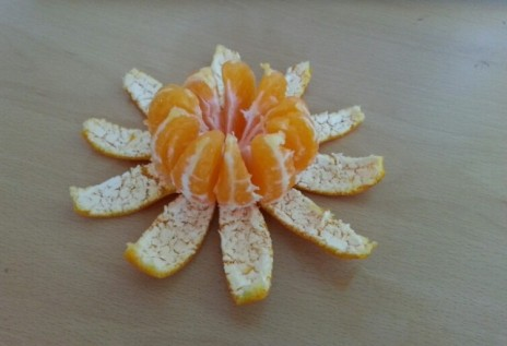 Clementine peel flower fun